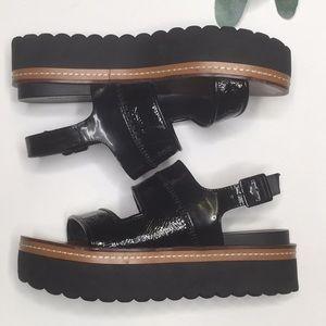 Zara Patent Platform Shoes Strappy Black Sandals